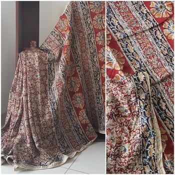 Red Handloom Chanderi Kalamkari saree with blouse