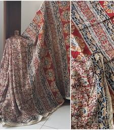 Red Handloom Chanderi Kalamkari saree with blouse