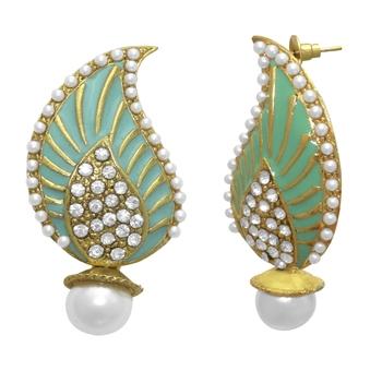 Stud Firozi Enamel Keri Fashion Ethnic Traditional Earrings For Women
