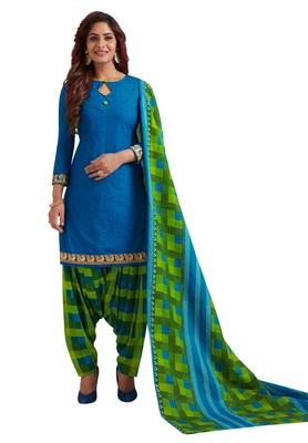 Women's Blue & Green Cotton Printed Readymade Patiyala Suit Set