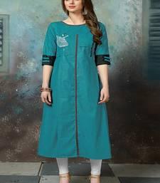 Turquoise embroidered khadi ethnic-kurtis