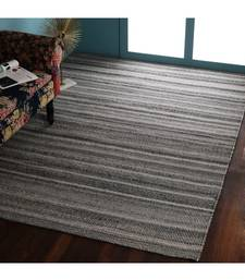 Grey Woollen Stripes Patterned Hand Woven Rectangle Carpet