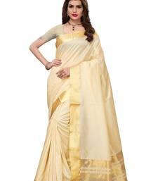 Cream Cotton Silk Weaving saree With Blouse