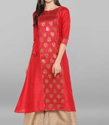 Red printed crepe ethnic kurta with palazzo