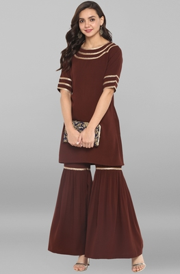 Brown plain crepe ethnic kurta with sharara