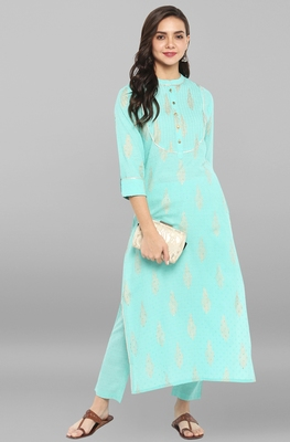 Sea-green printed cotton ethnic kurta with narrow pant