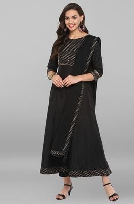 Black printed art silk ethnic kurta with narrow pant and dupatta