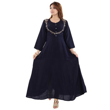 Navy Blue Rayon Full Sleeved Round Neck Anarkali Kurti for Women