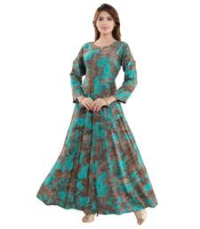 Multicoloured Rayon Cold Shoulder Abstract Printed Kurti for Women
