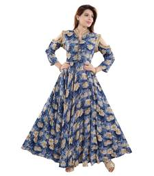 Blue Rayon Floral Printed Ankle Length Anarkali Kurti for Women