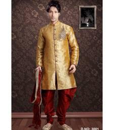 gold woven jacquard stitched sherwani