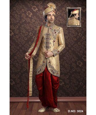 Gold Embroidered Jacquard Stitched Sherwani