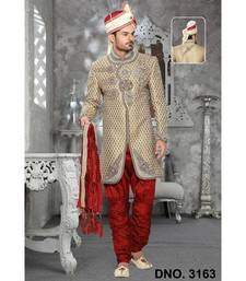 gold embroidered jacquard stitched sherwani