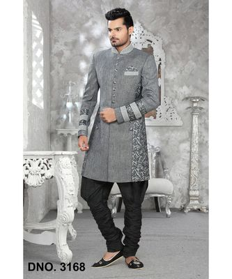 grey plain linen stitched sherwani