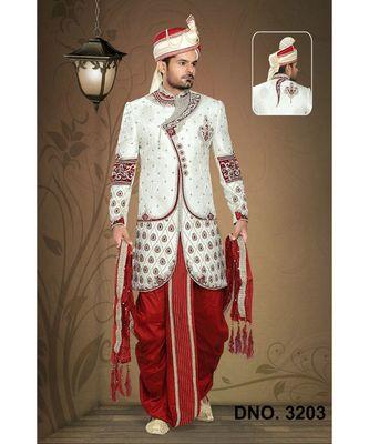 Off White Embroidered Jacquard Stitched Sherwani