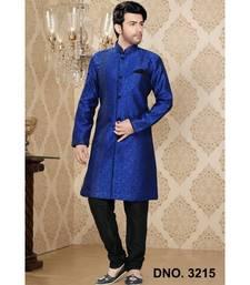 blue woven jacquard stitched sherwani