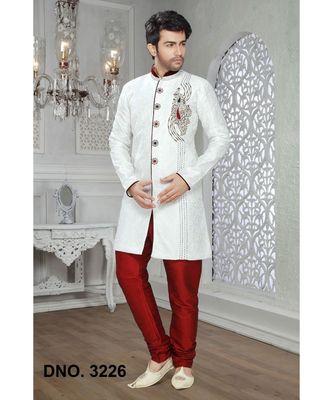 Off White Embroidered Jaquard Stitched Sherwani