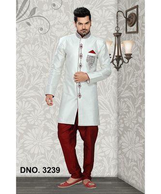 Off White Embroidered Brocade Stitched Sherwani