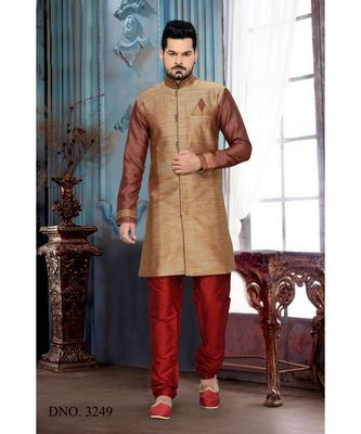 brown plain art silk stitched sherwani
