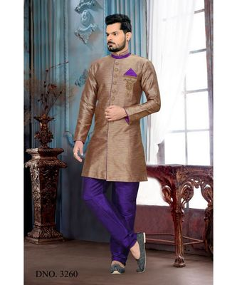 brown plain art silk stitched sherwani