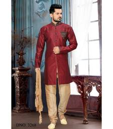 maroon embroidered art silk stitched sherwani