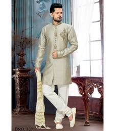 grey embroidered art silk stitched sherwani