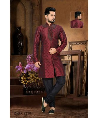 Maroon Embroidered Jacquard Stitched Sherwani