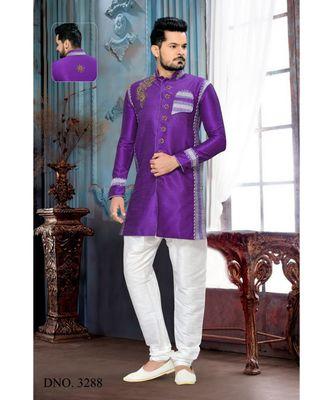 Purple Embroidered Art Dupion Silk Stitched Sherwani