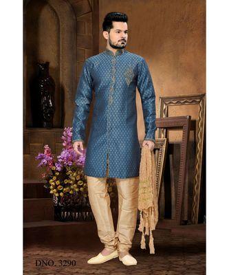 Blue Embroidered Jacquard Stitched Sherwani