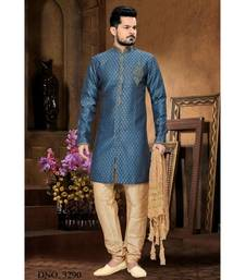 blue embroidered jacquard stitched sherwani