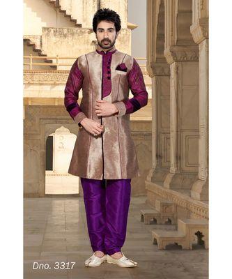copper plain art silk stitched sherwani