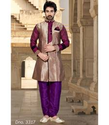 copper plain art silk stitched sherwani
