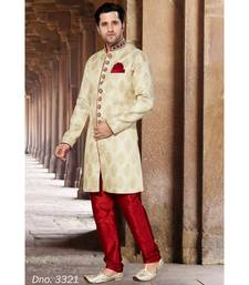 beige woven jacquard stitched sherwani