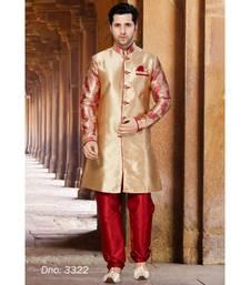 gold woven art silk stitched sherwani