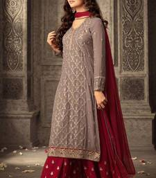 Grey embroidered faux georgette kameez with palazzo