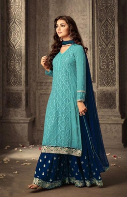 Sky-blue embroidered faux georgette salwar