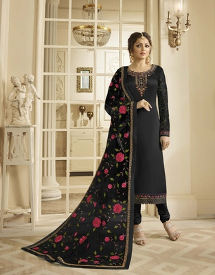 Black embroidered pure georgette salwar