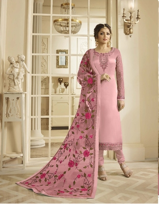 Baby-pink embroidered pure georgette salwar