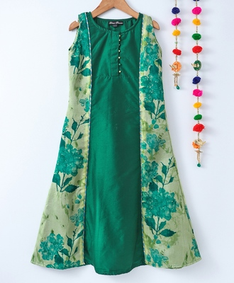 Green printed cotton poly kids girl gowns