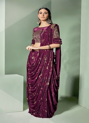 dark pink embroidered lycra saree with blouse