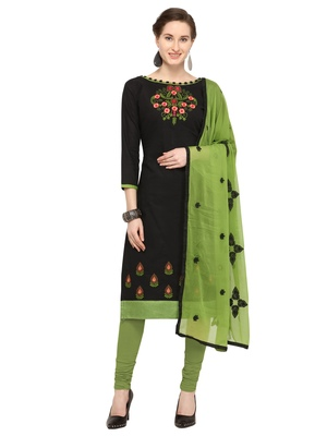 Slub Cotton Unstitched Salwar Suit With Embroidered Dupatta (Black, Mahendi Green_RNXMAHI1002_Free Size)