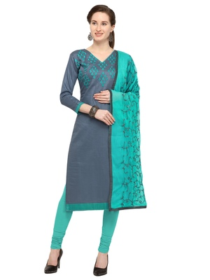 Women's Grey Glaze Cotton Unstitched Salwar Suit With Embroidered Dupatta