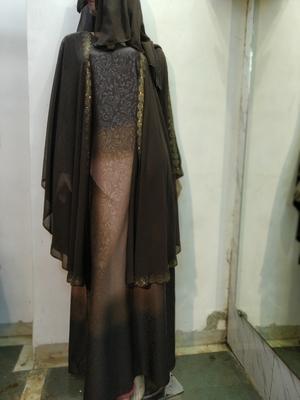 brown printed nida abaya