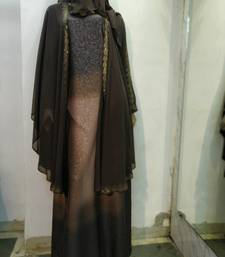 brown printed nida abaya