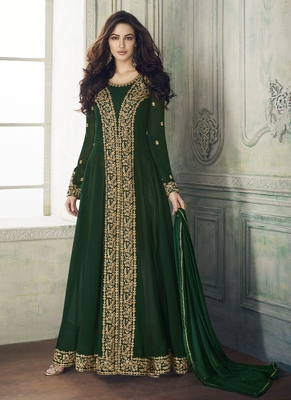 green embroidered pure georgette semi stitched salwar with dupatta
