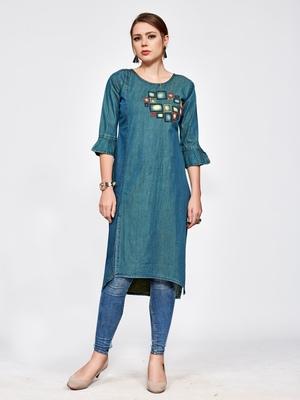 Green embroidered denim kurtas and kurtis