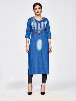 Light blue embroidered denim kurtas and kurtis