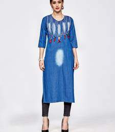 Light blue embroidered denim kurtas and kurtis