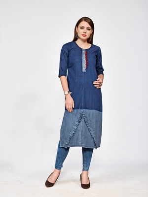 Dark blue plain denim kurtas and kurtis