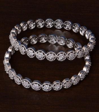 Rhodium Plated American Diamond Embellished Pair of Designer Bangles BD289